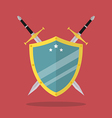 Swords and shield flat style vector image
