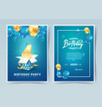 4th years birthday invitation double card vector image