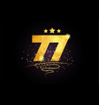 77 number icon design with golden star and glitter vector image vector image