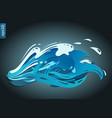 a blue wave with a drops and splashes vector image vector image