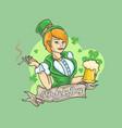 beautiful shamrock beer st patricks day vector image