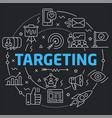 black line flat circle targeting vector image