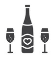 bottle of champagne with glasses glyph icon vector image vector image
