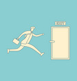businessman run to open exit door vector image vector image