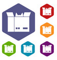 cat in a cardboard box icons set hexagon vector image vector image