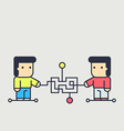 characters creates a logical chain and looking for vector image vector image