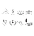 Court Room and Law Icons vector image vector image