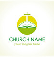cross on bible green logo vector image vector image