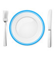 dinner plate knife and fork on white background vector image