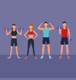 fitness people doing exercise vector image vector image