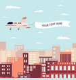 flying banner pulled airplane flying over a vector image vector image