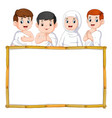 four children are using white cloth vector image vector image