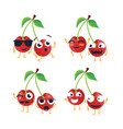 funny cherries - isolated cartoon emoticons vector image vector image