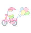 gnome rides a bike vector image