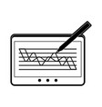 graph chart on tablet screen icon image vector image