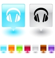 headphones square button vector image vector image