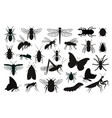 insects silhouettes set vector image vector image