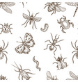 insects that fly and creep monochrome sepia vector image