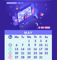 isometric month may from set calendar of 2019 vector image