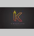 k letter design with golden outline and grunge vector image