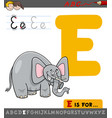 letter e with cartoon elephant vector image