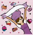 manga chef with desserts vector image vector image