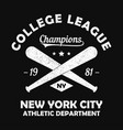 new york grunge t-shirt print with baseball bat vector image