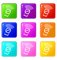 no wifi smartphone icons set 9 color collection vector image vector image