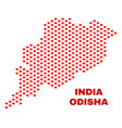 odisha state map - mosaic of valentine hearts vector image vector image