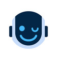robot face icon smiling face wink emotion robotic vector image vector image