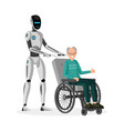 robot with disabled man flat vector image