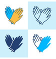 rubber gloves pair icon set in line style vector image