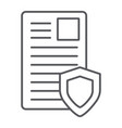 security document thin line icon privacy and vector image vector image