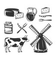 set cheese elements for design vector image