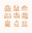 set house flat icons beige vector image vector image