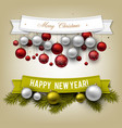 set ribbons labels tags merry christmas vector image vector image