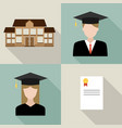 set university students graduation vector image