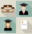 set university students graduation vector image vector image