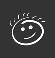 simple smile icon hand drawn face doodle on black vector image