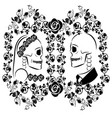 skulls wedding with flourishes 2 vector image vector image