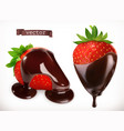 strawberry in chocolate 3d realistic icon vector image
