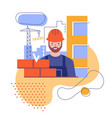 the builder builds a brick wall flat stylized vector image