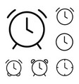 thin line clock alarm icons vector image