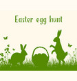two rabbits and easter basket vector image vector image