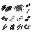 types of pasta black icons in set collection for vector image