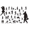 walk people silhouette black figures happy vector image