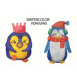 watercolor collection of cute hand drawn penguins vector image vector image