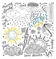 Weather doodles icon set Hand drawn sketch