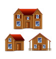 wooden house set isolated on white vector image vector image