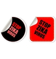 zika virus text web icon button isolated on white vector image